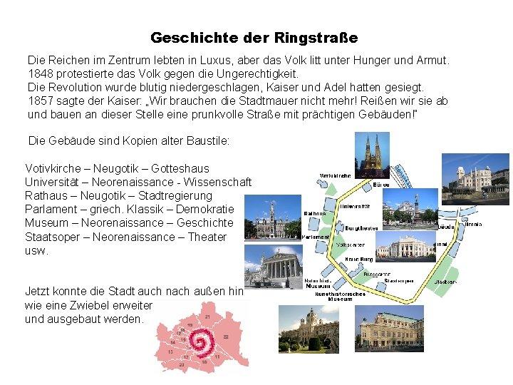 Geschichte der Ringstraße Die Reichen im Zentrum lebten in Luxus, aber das Volk litt