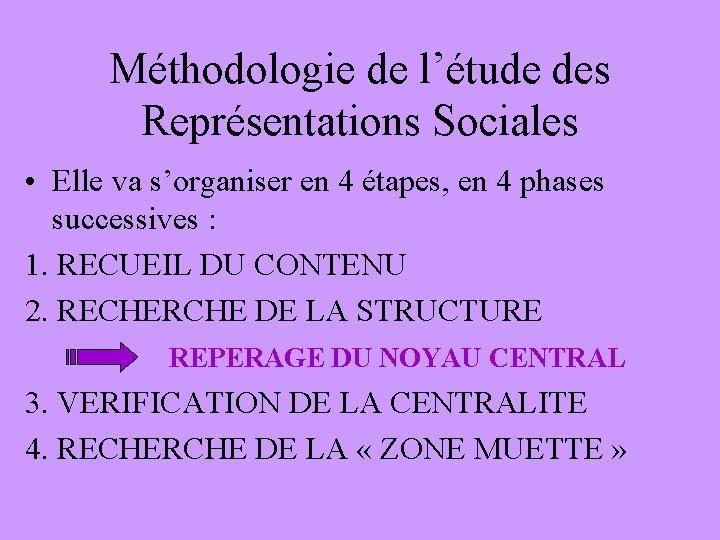 Méthodologie de l'étude des Représentations Sociales • Elle va s'organiser en 4 étapes, en