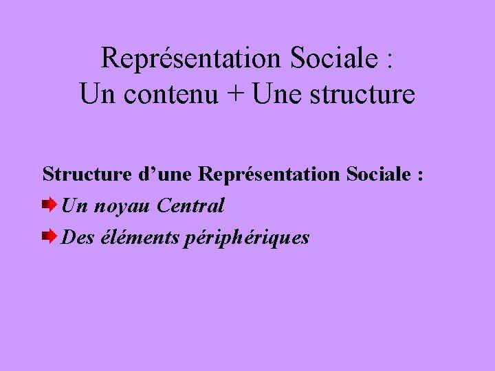 Représentation Sociale : Un contenu + Une structure Structure d'une Représentation Sociale : Un