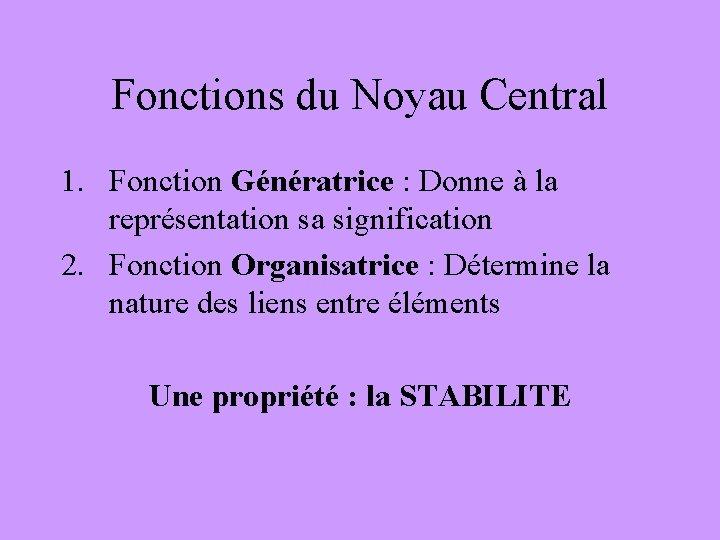 Fonctions du Noyau Central 1. Fonction Génératrice : Donne à la représentation sa signification