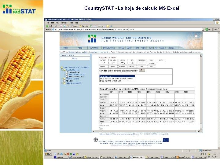 Country. STAT - La hoja de calculo MS Excel