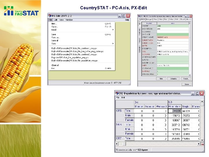 Country. STAT - PC-Axis, PX-Edit