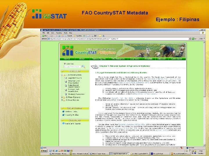 FAO Country. STAT Metadata Ejemplo : Filipinas