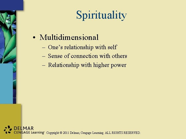 Spirituality • Multidimensional – One's relationship with self – Sense of connection with others