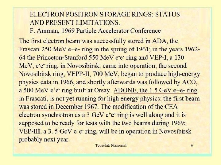 1969 Colliders status C. Pellegrini
