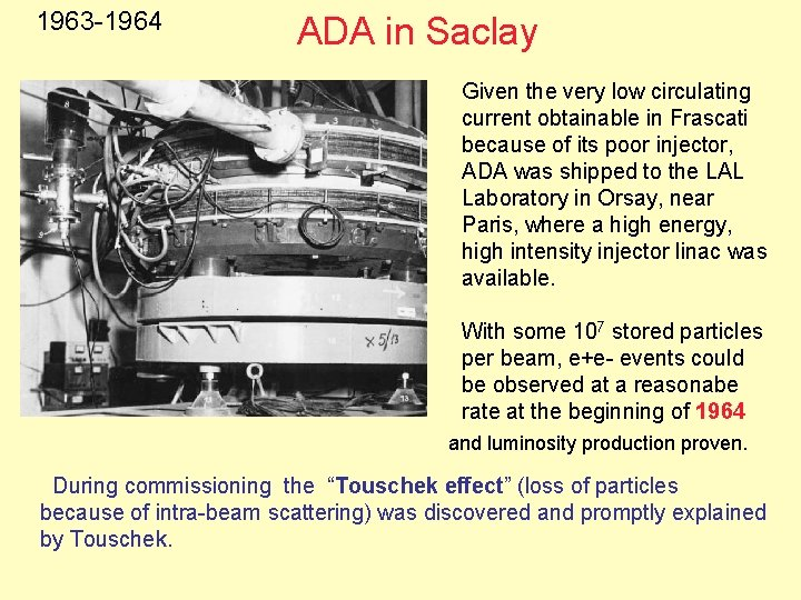 1963 -1964 1963 ADA in Saclay Given the very low circulating current obtainable in