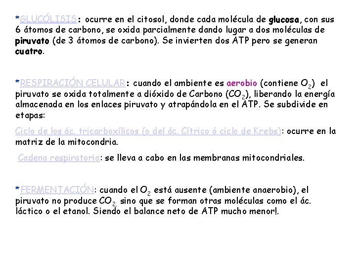 *GLUCÓLISIS: ocurre en el citosol, donde cada molécula de glucosa, con sus 6 átomos
