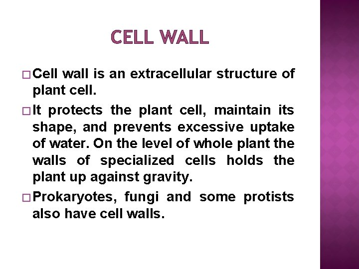 CELL WALL � Cell wall is an extracellular structure of plant cell. � It