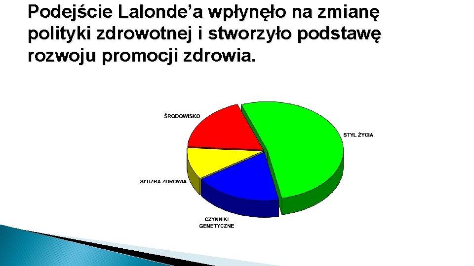 Podejście Lalonde'a wpłynęło na zmianę polityki zdrowotnej i stworzyło podstawę rozwoju promocji zdrowia.