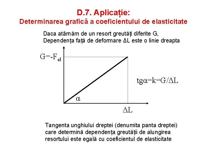 D. 7. Aplicație: Determinarea grafică a coeficientului de elasticitate Daca atârnăm de un resort
