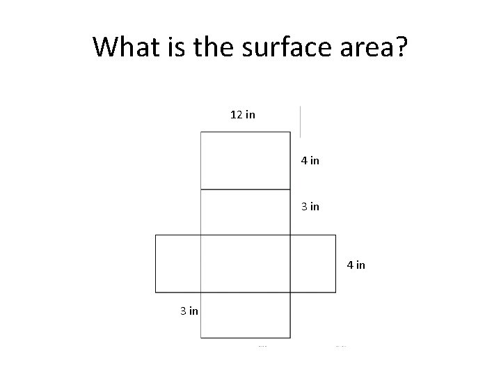 What is the surface area? 12 in 4 in 3 in