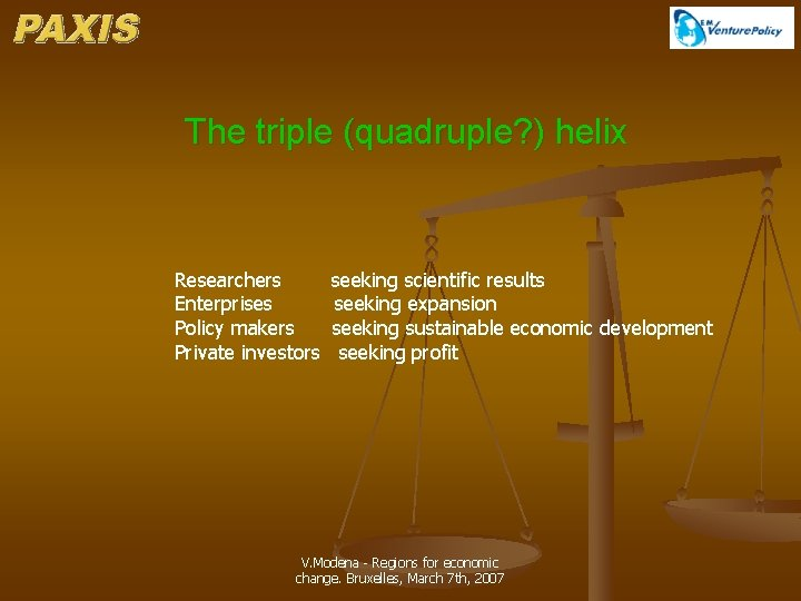 The triple (quadruple? ) helix Researchers Enterprises Policy makers Private investors seeking scientific results