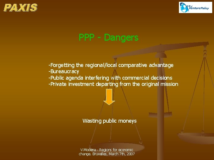 PPP - Dangers -Forgetting the regional/local comparative advantage -Bureaucracy -Public agenda interfering with commercial