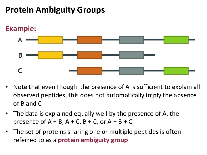 Protein Ambiguity Groups Example: A B C • Note that even though the presence