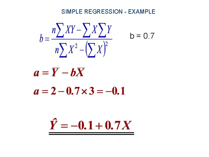 SIMPLE REGRESSION - EXAMPLE b = 0. 7