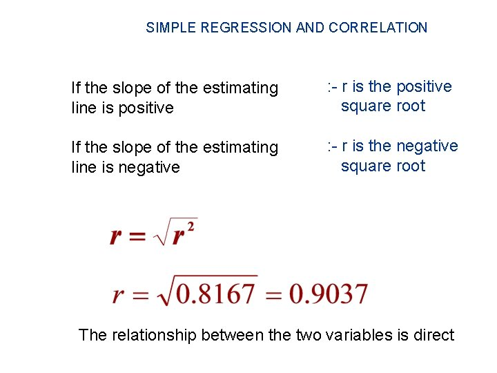 SIMPLE REGRESSION AND CORRELATION If the slope of the estimating line is positive :