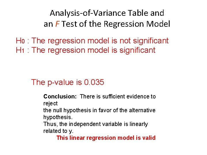 Analysis-of-Variance Table and an F Test of the Regression Model H 0 : The