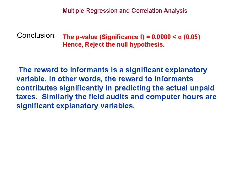 Multiple Regression and Correlation Analysis Conclusion: The p-value (Significance t) = 0. 0000 <