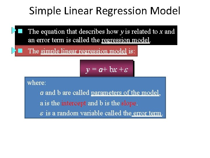 Simple Linear Regression Model n The equation that describes how y is related to
