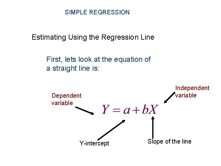 SIMPLE REGRESSION Estimating Using the Regression Line First, lets look at the equation of