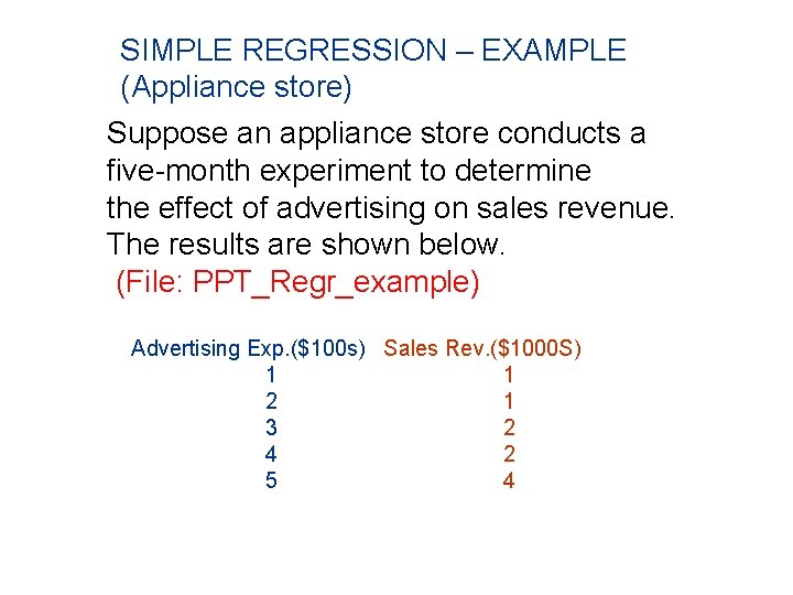SIMPLE REGRESSION – EXAMPLE (Appliance store) Suppose an appliance store conducts a five-month experiment