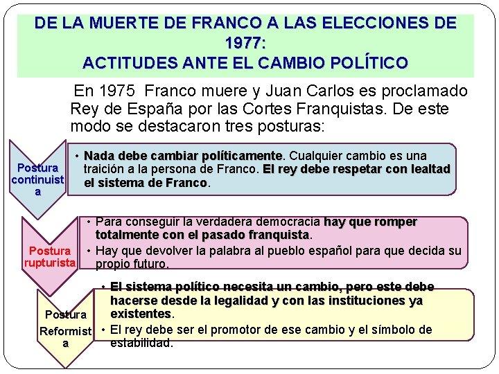DE LA MUERTE DE FRANCO A LAS ELECCIONES DE 1977: ACTITUDES ANTE EL CAMBIO