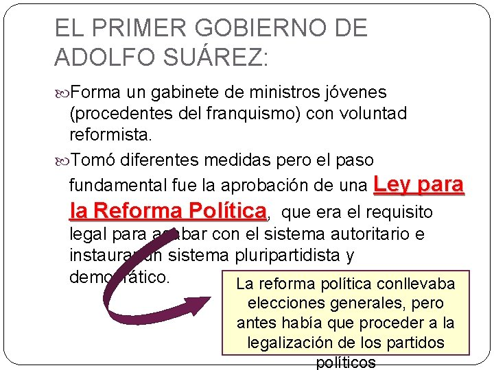 EL PRIMER GOBIERNO DE ADOLFO SUÁREZ: Forma un gabinete de ministros jóvenes (procedentes del