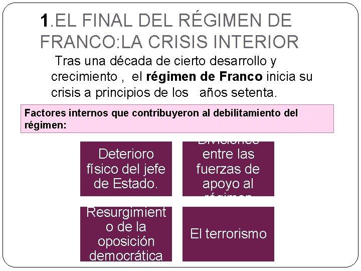 1. EL FINAL DEL RÉGIMEN DE FRANCO: LA CRISIS INTERIOR Tras una década de