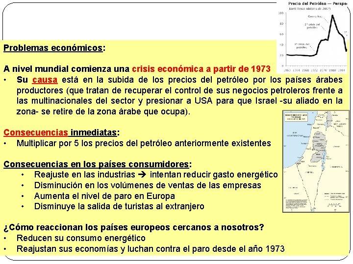Problemas económicos: A nivel mundial comienza una crisis económica a partir de 1973 •