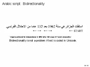 Arabic script: Bidirectionality ' Algeria achieved its independence in 1962 after 132 years of