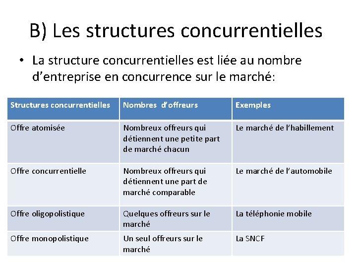 B) Les structures concurrentielles • La structure concurrentielles est liée au nombre d'entreprise en