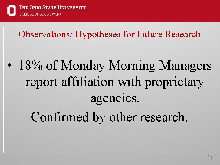 Observations/ Hypotheses for Future Research • 18% of Monday Morning Managers report affiliation with