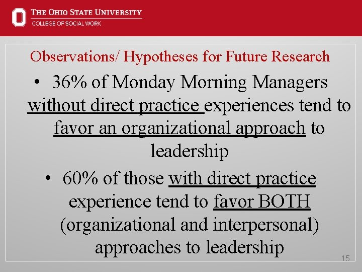 Observations/ Hypotheses for Future Research • 36% of Monday Morning Managers without direct practice
