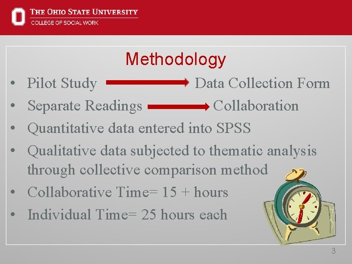 Methodology • • Pilot Study Data Collection Form Separate Readings Collaboration Quantitative data entered