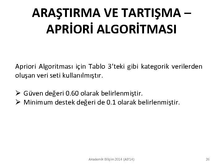 ARAŞTIRMA VE TARTIŞMA – APRİORİ ALGORİTMASI Apriori Algoritması için Tablo 3'teki gibi kategorik verilerden