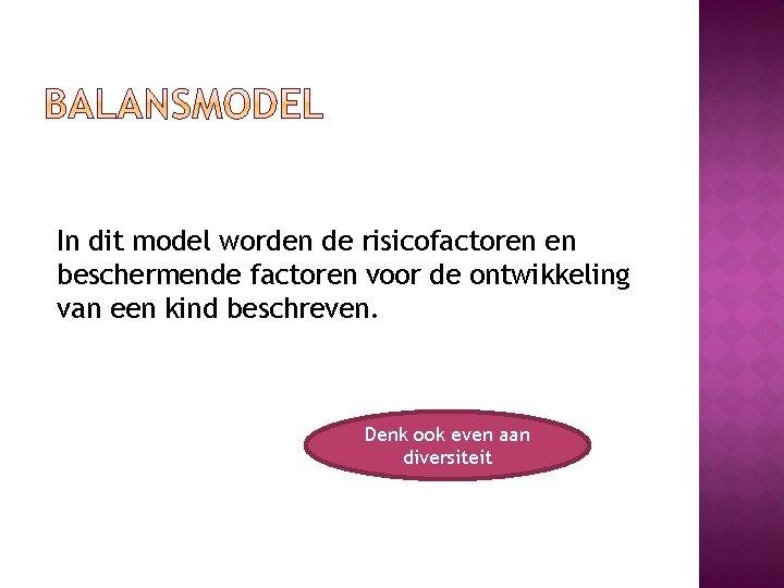 In dit model worden de risicofactoren en beschermende factoren voor de ontwikkeling van een