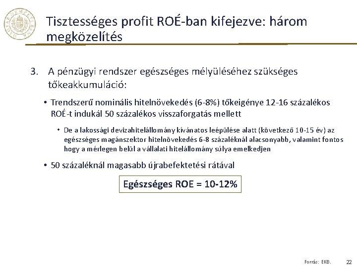 Tisztességes profit ROÉ-ban kifejezve: három megközelítés 3. A pénzügyi rendszer egészséges mélyüléséhez szükséges tőkeakkumuláció: