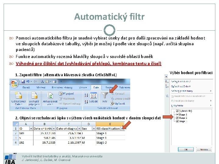 Automatický filtr Pomocí automatického filtru je snadné vybírat úseky dat pro další zpracování na