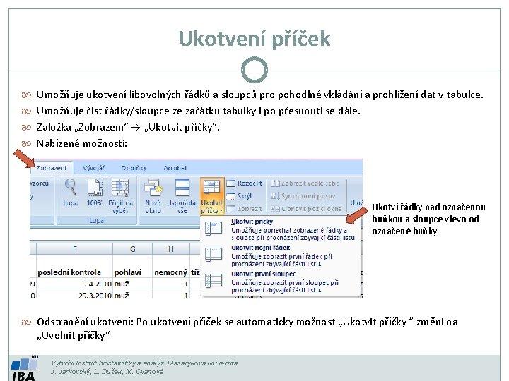 Ukotvení příček Umožňuje ukotvení libovolných řádků a sloupců pro pohodlné vkládání a prohlížení dat