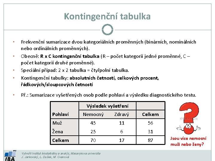 Kontingenční tabulka • • • Frekvenční sumarizace dvou kategoriálních proměnných (binárních, nominálních nebo ordinálních