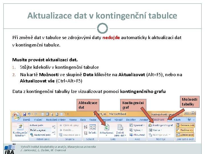 Aktualizace dat v kontingenční tabulce Při změně dat v tabulce se zdrojovými daty nedojde