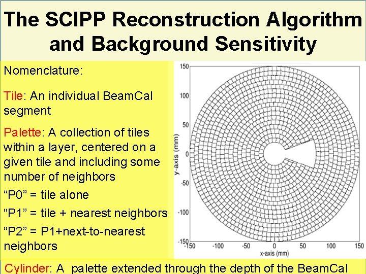 The SCIPP Reconstruction Algorithm and Background Sensitivity Nomenclature: Tile: An individual Beam. Cal segment