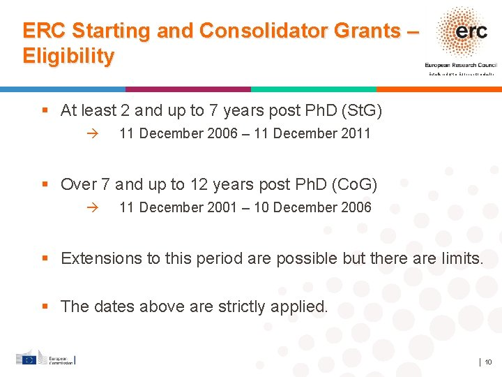 ERC Starting and Consolidator Grants – Eligibility Established by the European Commission At least