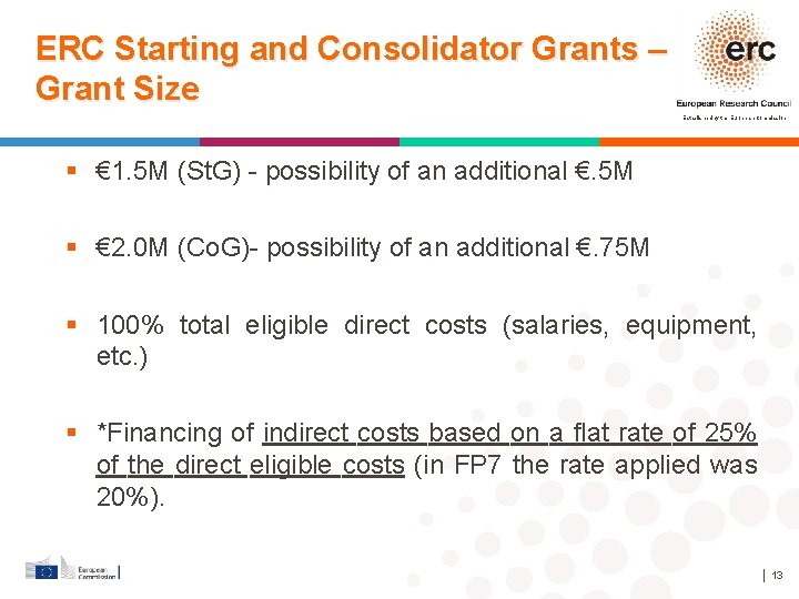 ERC Starting and Consolidator Grants – Grant Size Established by the European Commission €
