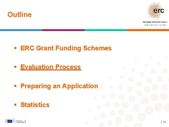 Outline Established by the European Commission ERC Grant Funding Schemes Evaluation Process Preparing an