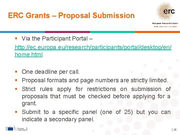 ERC Grants – Proposal Submission Established by the European Commission Via the Participant Portal