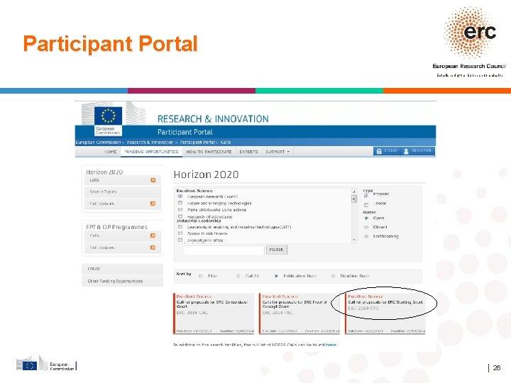Participant Portal Established by the European Commission │ 26