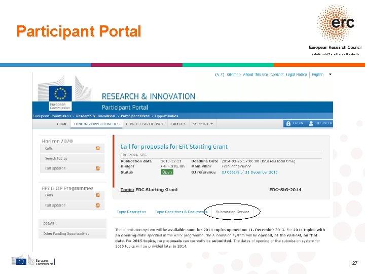 Participant Portal Established by the European Commission │ 27