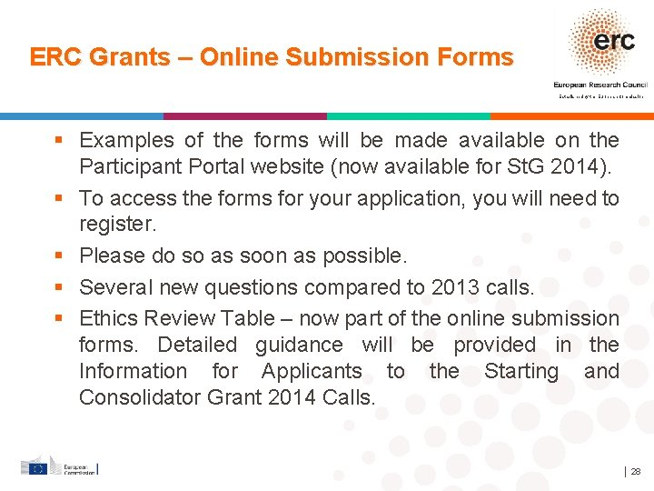 ERC Grants – Online Submission Forms Established by the European Commission Examples of the