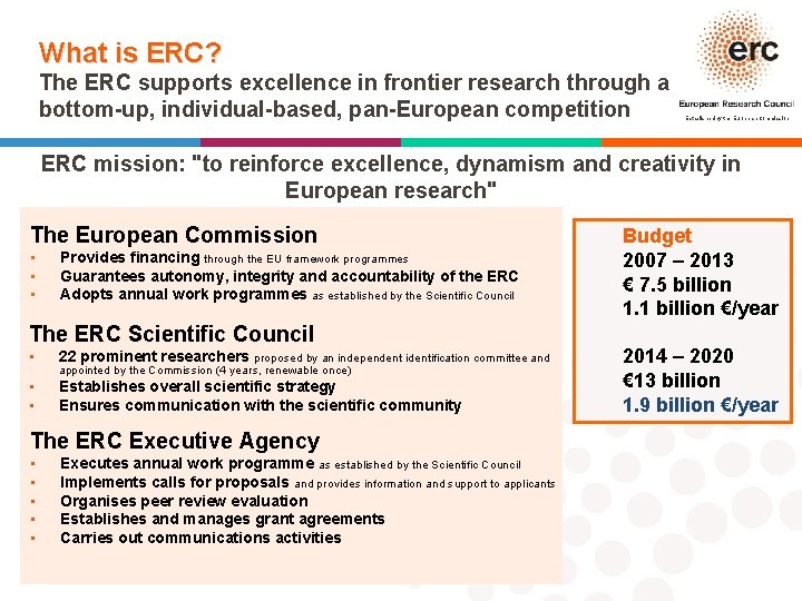 What is ERC? The ERC supports excellence in frontier research through a bottom-up, individual-based,